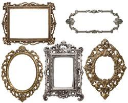 Vintage metal frames, isolated.