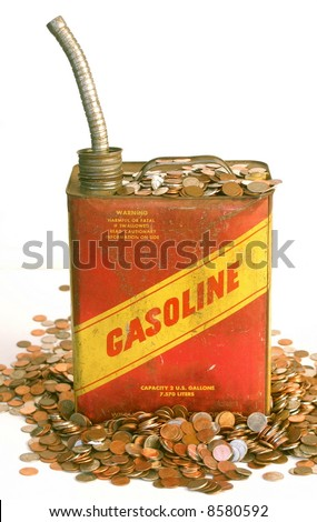 Vintage metal gas can and piles of money, white background