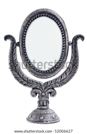 vintage metal  mirror with patterned frame isolated on white background
