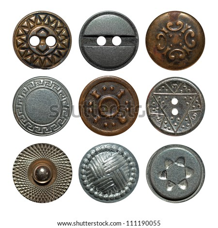 Vintage metal sewing buttons collection