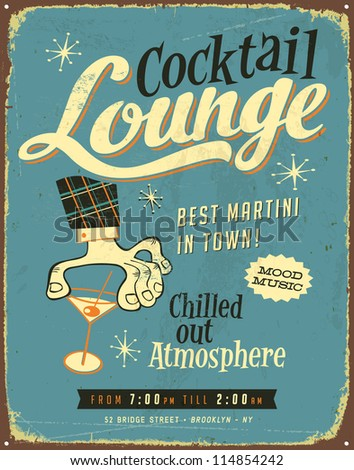 Vintage metal sign - Cocktail Lounge - JPG Version