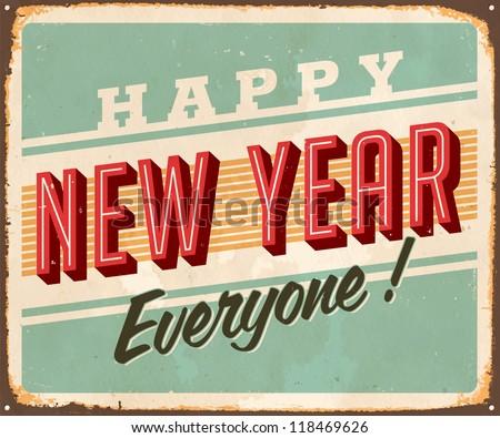 Vintage Metal Sign - Happy New Year Everyone! - JPG Version