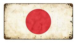 Vintage metal sign on a white background - Flag of Japan