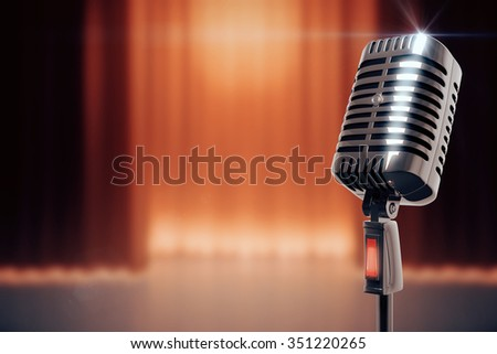 Vintage microphone at stage background #351220265