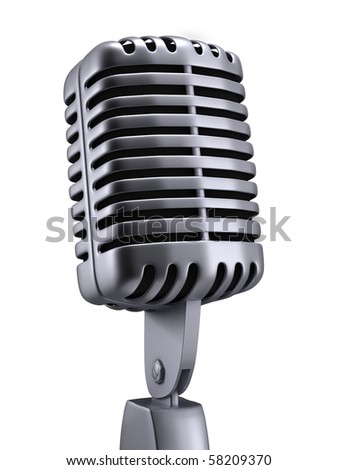 Vintage Microphone chrome 3d