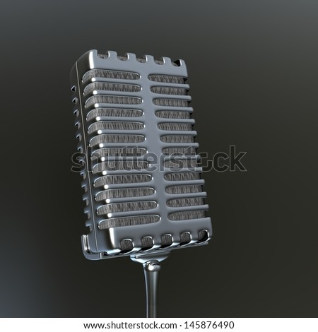 Vintage microphone in 3d
