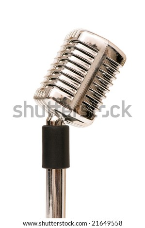 Vintage microphone isolated on the white background