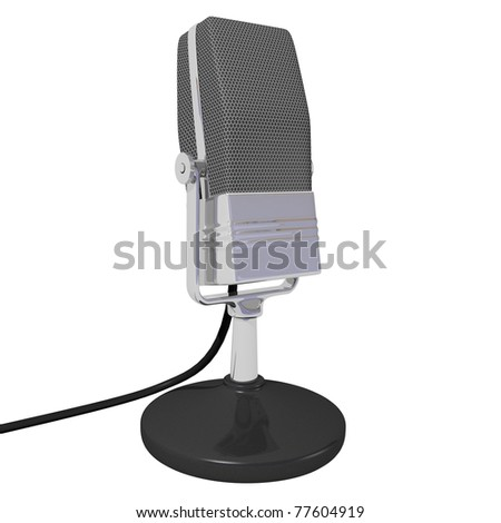 Vintage microphone isolated on white background with cord.