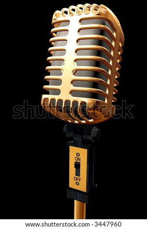 vintage microphone made in 3d – isolated over a black background