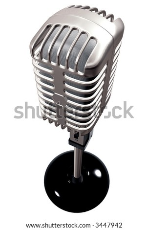 vintage microphone made in 3d – isolated over a white background