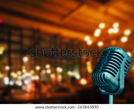 vintage microphone with blurred ...