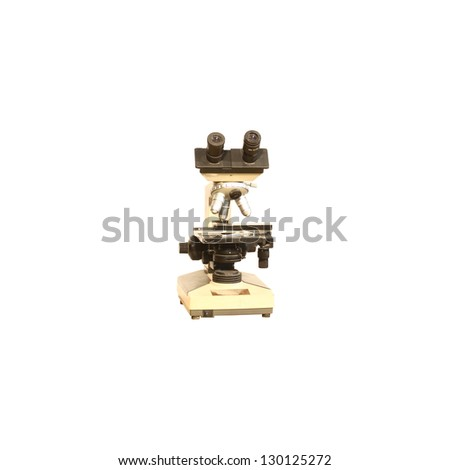 Vintage Microscope isolated on white background