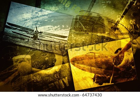 Vintage military aircraft, grunge background