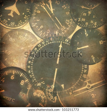 Vintage military background, retro aviation, aircraft instruments