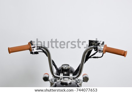 Vintage mini motorcycle (monkeybike) handle-bars from drivers position.  #744077653