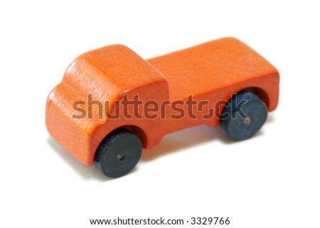 Vintage miniature orange wood truck