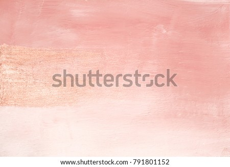 Vintage minimal delicate pink abstract painted background texture with shimmering metallic golden brush stroke