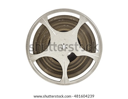 Vintage 8 mm movie film reel isolated on white. #481604239