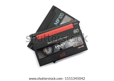 vintage 8mm video cassette on white background.Isolated