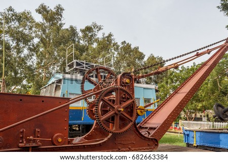 vintage model of a manual crane ...