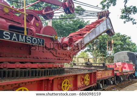 vintage model of manual crane...