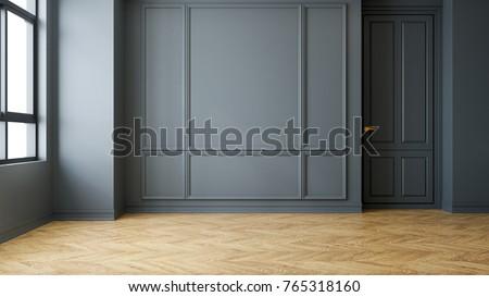 Vintage Modern  interior of living room, empty room, dark gray wall and wood flooring  ,3d rendering