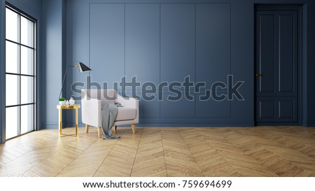 Vintage Modern interior of living room, pink sofa near black lamp on gold table  ,wood flooring and dark blue wall  ,3d rendering