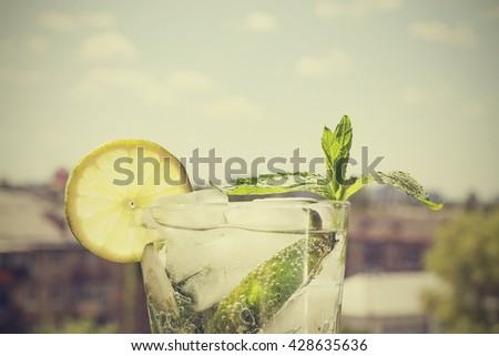 vintage. mojito in a glass on a ...