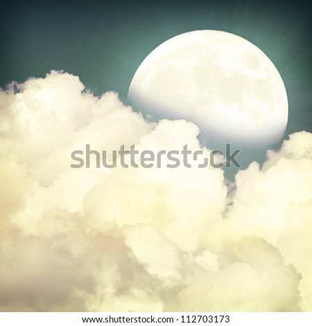Vintage moon sky background