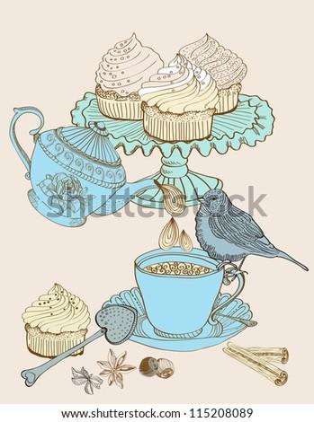vintage morning tea background. Illustration for design