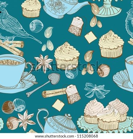 vintage morning tea background. seamless pattern for design