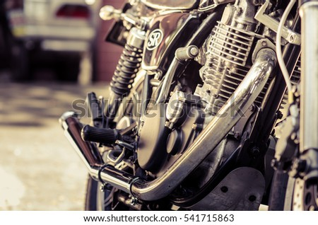 Vintage motorcycle exhaust pipes.vintage style