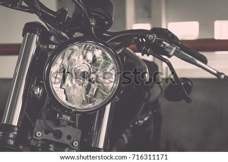 Vintage Motorcycle Focus On A Headlamp Headlight On Vintage Color