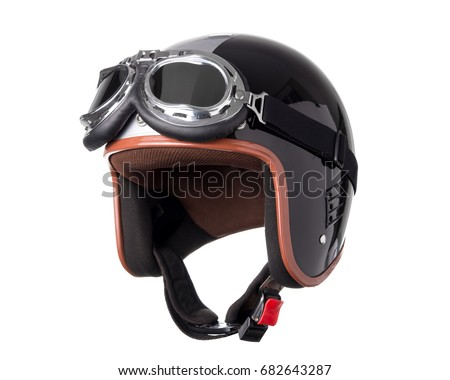 Vintage motorcycle helmet isolated on white background.