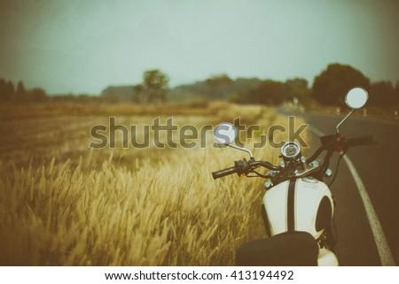 vintage motorcycle on beautiful ...