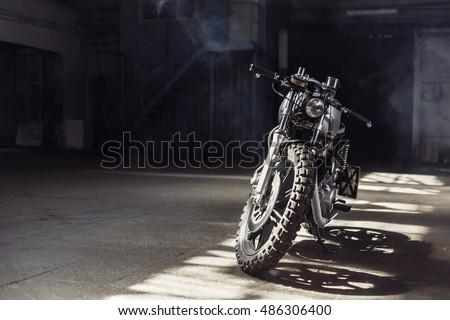 vintage motorcycle standing in...