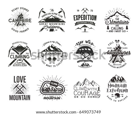Vintage mountaineering badges. Climbing logo, vintage emblems. Climb alpinism gear - helmet, carabiner, campfire. Retro t shirt design. Old style illustration. Letterpress effect. Full set.