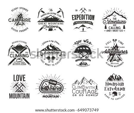 Vintage mountaineering badges. Climbing logo, vintage emblems. Climb alpinism gear - helmet, carabiner, campfire. Retro t shirt design. Old style illustration. Letterpress effect. Full set.