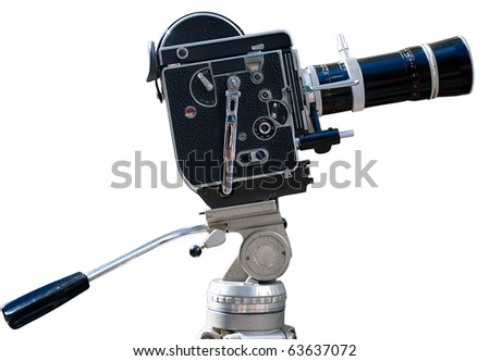 Vintage movie camera on a tripod, isolated on white - stock photo
