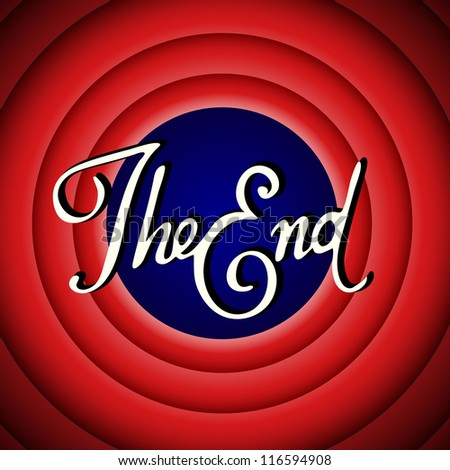 Vintage movie ending screen - stock photo