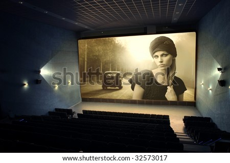 vintage movie on a cinema screen