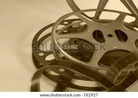 Vintage Movie Reels with Film, in Sepia Tone