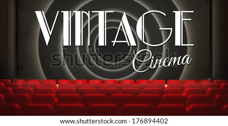 Vintage movie screen in old retro cinema, view from audience