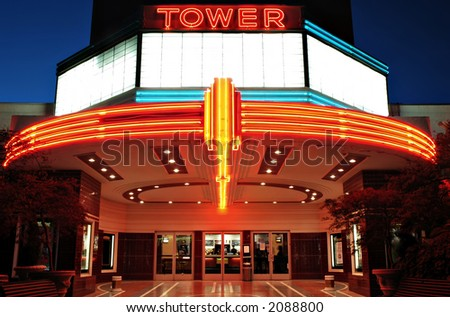Vintage movie theater with neon lights in Sacramento, California