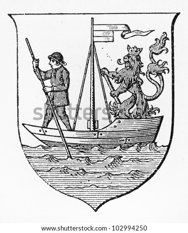 Vintage Mulheim on the Rhine coat of arms from the end of 19th century - Picture from Meyers Lexikon book (written in German language) published in 1908 Leipzig - Germany.