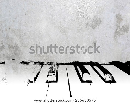 Vintage music background - piano keys on silver grey sheet