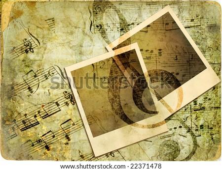 vintage musical background with instant frames