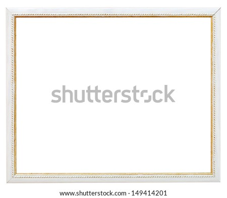 vintage narrow white picture frame with cutout canvas isolated on white background