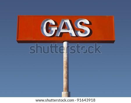 Vintage neon gas sign in California's Mojave Desert.