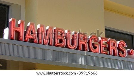 vintage neon hamburgers sign